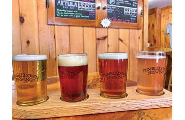 A flight of brews at Tumbledown Brewing in Farmington. Photo by Carey Kish.